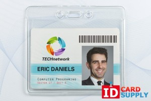 Horizontal Name Badge Holder w/ Orange Peel Texture