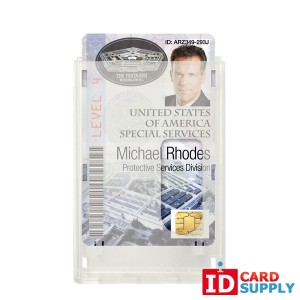 QTY: 50 | Rigid Wear Vertical 2-Card Badge Holder