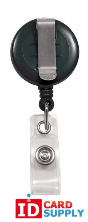 "25 Black ""No-Twist"" Badge Reels w/ Clear Vinyl Strap & Belt Clip"