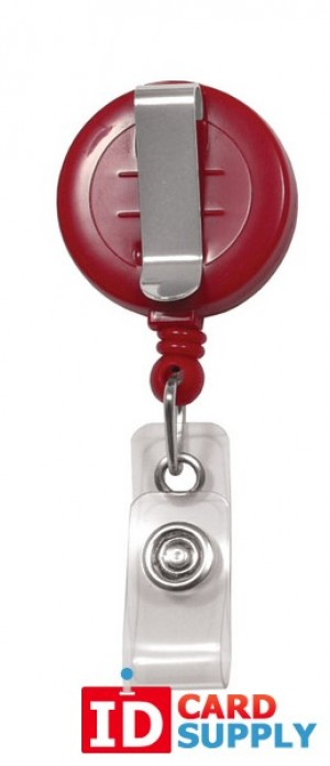 "Red ""No-Twist"" Badge Reel with Clear Vinyl Strap and Belt Clip 