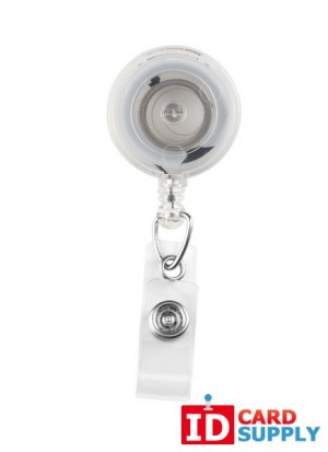 QTY: 25 | Translucent Red Badge Reels with Clear Vinyl Strap & Spring Clip