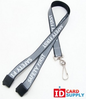 "100 Black 5/8"" Reflective Lanyards With ""Safety First"" Imprint & Nickel-Plated Steel Swivel Hook"