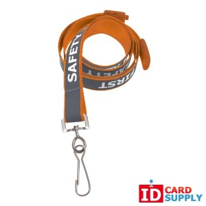 "Pack of 100 Orange ""Safety First"" Reflective Lanyards"