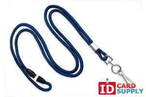 "Navy Blue Detachable 1/8"" Lanyard w/ Nickel-Plated Steel Swivel Hook 