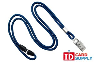 Navy Blue 3mm Round Lanyard with Breakaway and Nickel-Plated Bulldog Clip | QTY:100