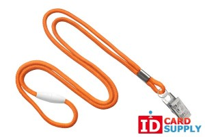 "Orange Round 1/8"" Lanyard w/ Breakaway & Steel Bulldog Clip 