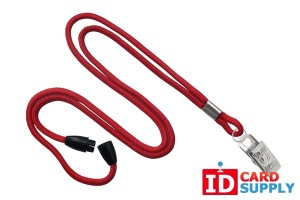 QTY: 100 | Red 3mm Round Lanyard w/ Steel Bulldog Clip and Breakaway Strap