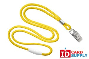 "Yellow Round 1/8"" Breakaway Lanyard with Nickel-Plated Steel Bulldog Clip"