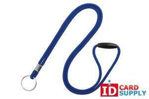 "QTY: 100 | Royal Blue 1/8"" Round Breakaway Lanyard with Split Ring"