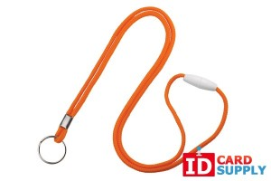 "Orange 1/8"" Round Lanyard w/ Breakaway Feature and Split Ring 