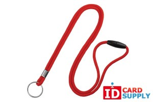 "QTY: 100 | Red 1/8"" Breakaway Round Lanyard with Split Ring"