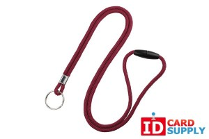 "Maroon 1/8"" Round Lanyard with Breakaway Feature and Split Ring 