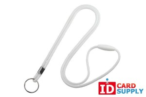QTY:100 | White Round 3mm Lanyard w/ Split Ring and Breakaway Feature