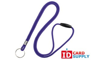 "Qty:100 | Purple Round 1/8"" Lanyard with Split Ring and Breakaway Feature"