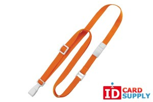 "Pack of 100 Orange Flat Breakaway Lanyards w/ Slide Adjuster and ""No Twist"" Wide Plastic Hook"