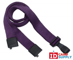 "Purple Eco-Friendly Lanyard w/Breakaway Strap and ""No Twist"" Plastic Hook [QTY1000]"