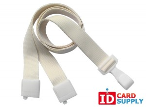 "QTY:1000 | Natural White Lanyard w/Recycled PET Strap and ""No-Twist"" Hook"