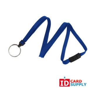 100 Pack of Royal Blue Flat Woven Breakaway Lanyard with Split Ring
