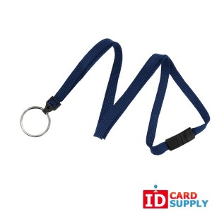 "Navy Blue 3/8"" Flat Lanyard with Breakaway Feature and Split Ring (Pack of 100)"