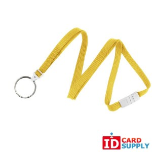 Yellow 10mm Flat Lanyard w/ Breakaway Strap and Split Ring | Pack of 100