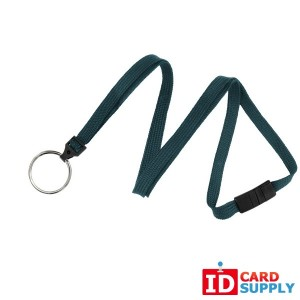 "Teal 3/8"" Flat Woven Detachable Lanyard with Split Ring (QTY: 100)"