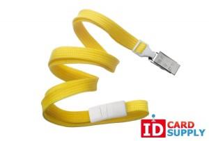 "QTY 100| Yellow 3/8"" Flat Braided Breakaway Lanyard w/ Bulldog Clip (2137-6009)"