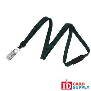 (2137-6014) Pack of 100 Forest Green Braided Breakaway Lanyard w/ Nickel Plated Bulldog Clip