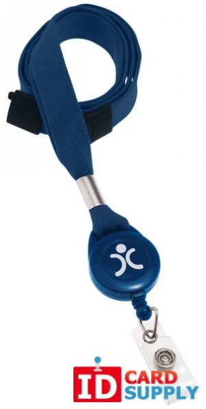 "Navy Blue 5/8"" Lanyard Badge Reel With Breakaway 
