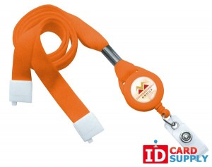 "Orange 5/8"" Tubular Breakaway Lanyard w/ Slotted Reel And Clear Vinyl Strap 