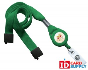 "QTY: 100 | Green 5/8"" Flat Tubular Breakaway Lanyard w Slotted Reel And Clear Vinyl Strap"