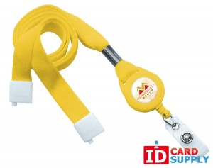 "Yellow 5/8"" Flat Tubular Lanyard W/ Breakaway Strap, Slotted Reel, And Clear Vinyl Strap 