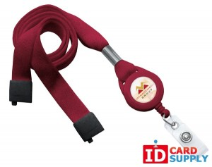"QTY: 100 | Maroon 5/8"" Flat Tubular Breakaway Lanyard Slotted Reel And Clear Vinyl Strap"