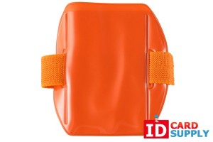QTY: 25 | Vertical Fluorescent Orange Vinyl Holder With Orange Strap - Credit Card Size