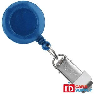 Royal Blue Round Badge Reel With Card Clamp And Swivel Clip   QTY: 25