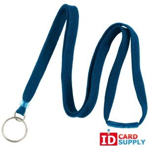 100 Royal Blue Lanyards with 3/8'' Breakaway Strap and Split Ring