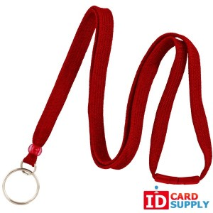 Red Lanyard 3/8'' with Breakaway Strap and Key Ring (Bundle of 100)