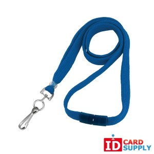 Pack of 100 Royal Blue Lanyards w/ Swivel Hook and Breakaway Strap