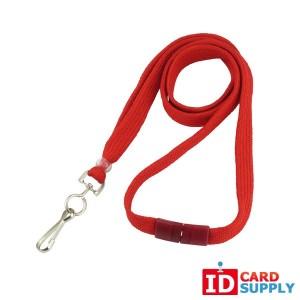 "Red 3/8"" Lanyard w/ Swivel Hook and Breakaway Strap (QTY:100)"