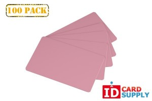 Bundle of 100 Pink Graphics Quality Standard CR80 PVC Cards (30 mil)