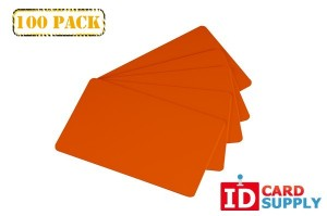 Lot of 100 Orange PVC Graphics Quality Standard Size Blank Cards