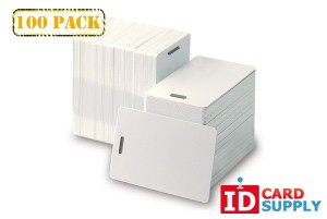 QTY: 100 | Standard White 30 Mil PVC Card with Vertical Slot Punch