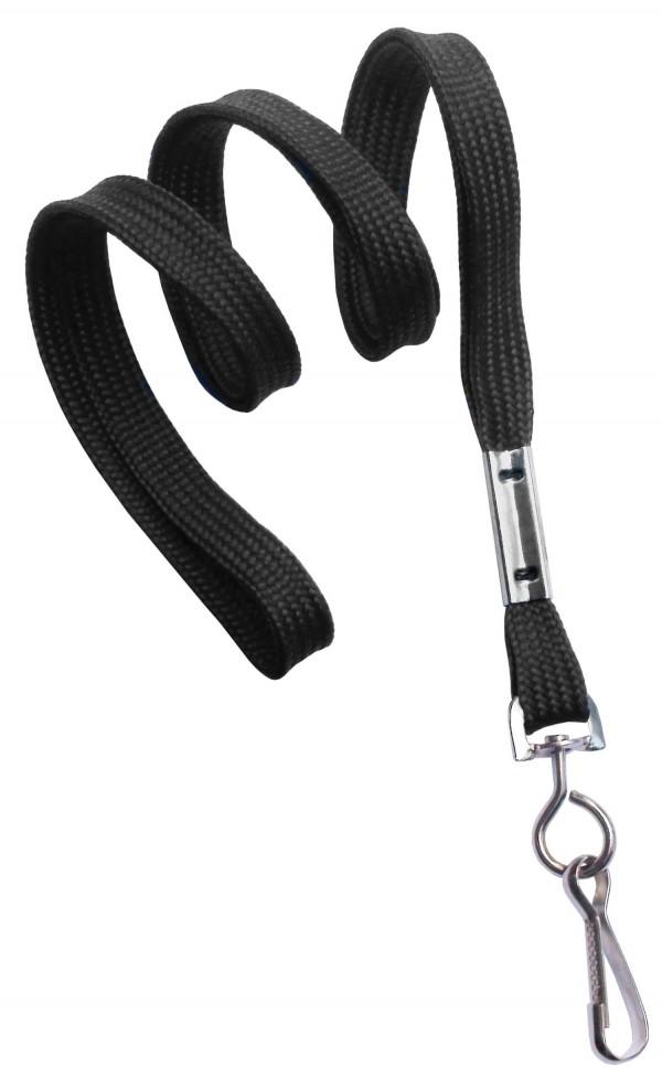 2135-3501 - Black Flat Woven Standard Lanyard w/ Swivel Hook