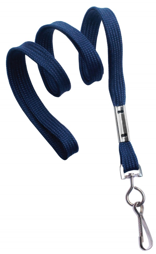 2135-3503 - Navy Blue Flat Woven Standard Lanyard w/ Swivel Hook