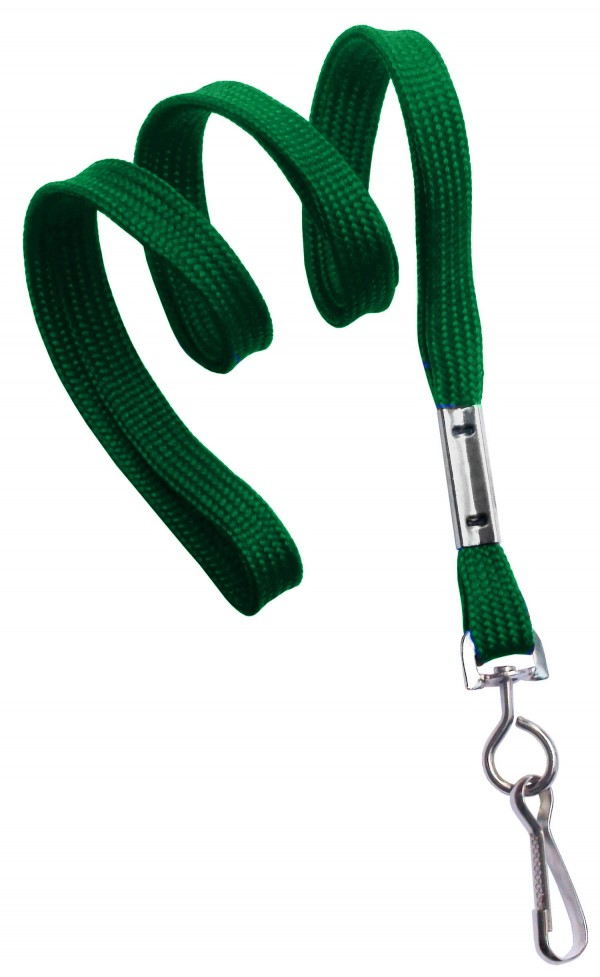2135-3504 - Green Flat Woven Standard Lanyard w/ Swivel Hook