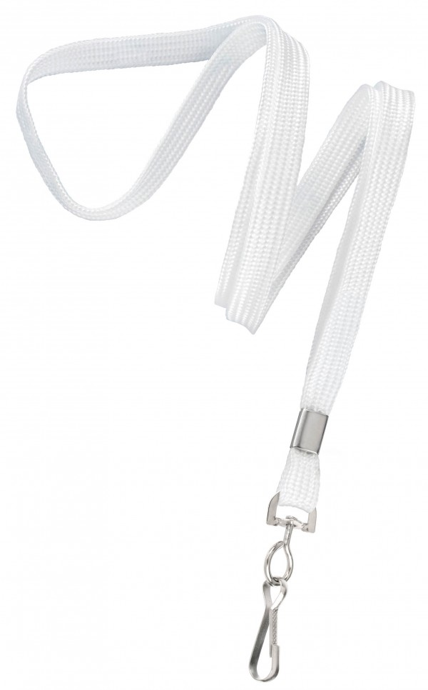 2135-3508 - White Flat Woven Standard Lanyard w/ Swivel Hook