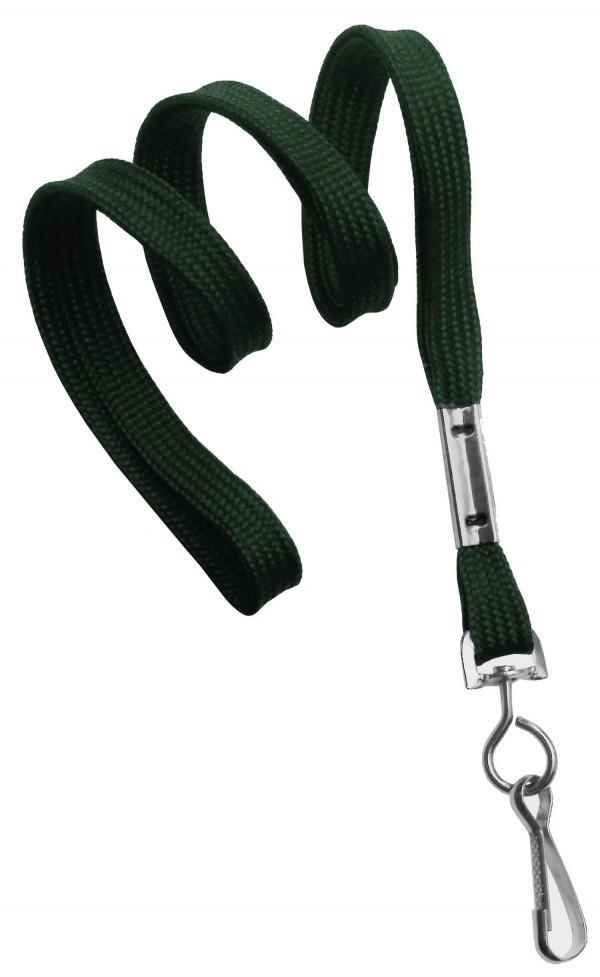 2135-3514 - Forest Green Flat Woven Standard Lanyard w/ Swivel Hook