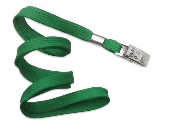 2135-3554 - Green Flat Woven Standard Lanyard w/ Bulldog Clip