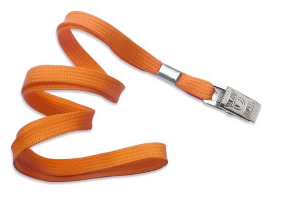 2135-3555 - Orange Flat Woven Standard Lanyard w/ Bulldog Clip