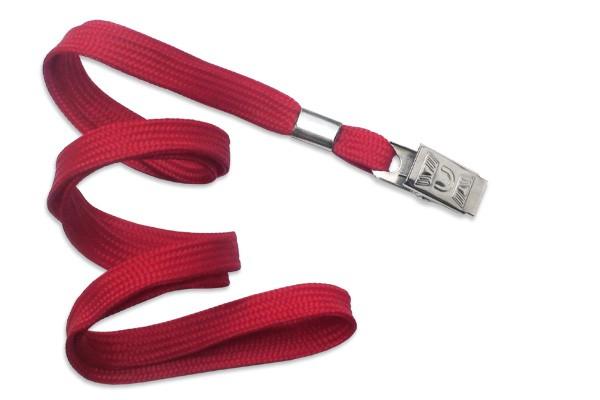 2135-3556 - Red Flat Woven Standard Lanyard w/ Bulldog Clip