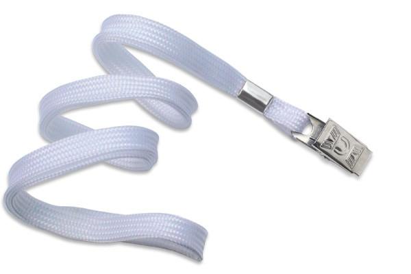 2135-3558 - White Flat Woven Standard Lanyard w/ Bulldog Clip